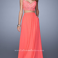 Two Piece La Femme Prom Dress with Pockets