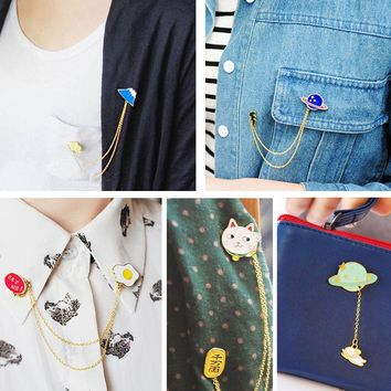 Trendy Cartoon Tiny Mount Fuji Planet Fried Eggs Brooch Enamel Pins Animal Cat Rabbit With Tassel Chain Brooches Denim Jacket Pin Badge AT_94_13