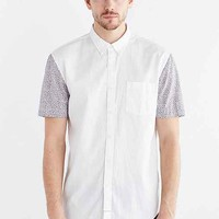 Barney Cools Floral-Sleeve Button-Down Shirt- White
