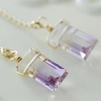 Ametrine Gold Threader Earrings by livjewellery on Etsy