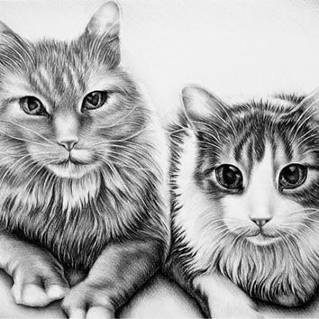 Personalized pet drawing in Black and White with Two Pets, personalized pet portrait, pencil portrait, pet memorial, Gift for Pet Lover