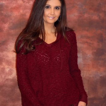 Popcorn Hoodie Sweater with Drawstring in Burgundy