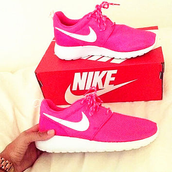 """NIKE"" Roshe Run Women Casual Sport Shoes Sneakers Rose"
