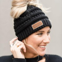 Messy Bun Beanie Hat - Black