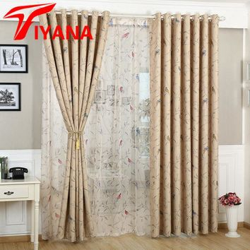 Rustic Birds & Flowers Pattern Design Home Window Blackout Cloth Curtains For Bedroom Living Room Kitchen Bay Window P128Z20