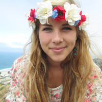 """Adjustable Flower Crown - """"Independence Day"""", Fourth of July Crown"""