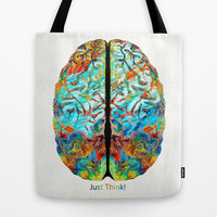 Colorful Brain Art - Just Think - By Sharon Cummings Tote Bag by Sharon Cummings