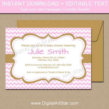 Pink and Gold Invitation Template - Instant Download Baby Shower Invitation - Printable Baby Sprinkle Invites Gold and Pink Oh Baby GPCD