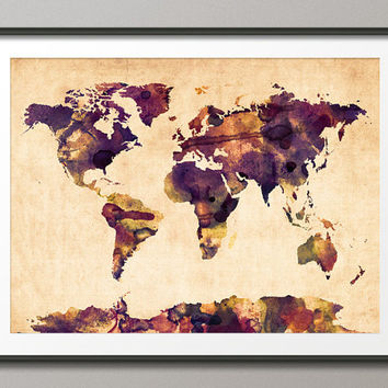 Watercolor Map of the World Map, Art Print, 18x24 inch (104)