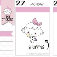 PIXIE - shopping time stickers,shopping stickers,planner stickers,chores stickers,cute stickers,kawaii stickers,erin condren  | A018