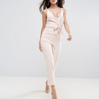 ASOS Wrap Front Jumpsuit with Peg Leg and Self Belt at asos.com