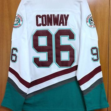 LMFON1 Mighty Ducks Movie Jersey #96 Charlie Conway Hockey Jersey Stitched All Sewn