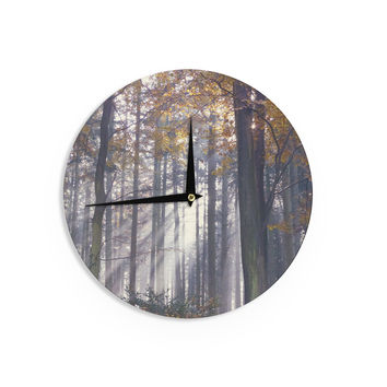 "Alison Coxon ""Autumn Sunbeams"" Trees Photography Wall Clock"