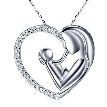 Mother Child Necklace Gold Plated with Cubic Zirconia