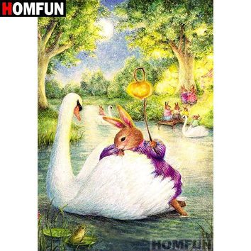 5D Diamond Painting Rabbit and the Swan Kit
