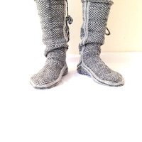 Men Mukluk, Winter, Grey to Gray, Comfy Slippers, Leg Warmers, Handknitt Slippers, Mukluk, Christmas Gift