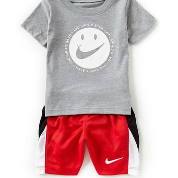 Nike Baby Boys 12-24 Months Short-Sleeve DNA Smiley Face Tee & Pieced Shorts Set | Dillards