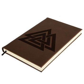 Viking Valknut Odin Symbol Brown Leatherette Journal
