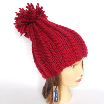 New tall hat for women - handknit hat - chunky knit hat - red hat 100% wool - warm winter hat - wool knit hat with pompom - new for 2015