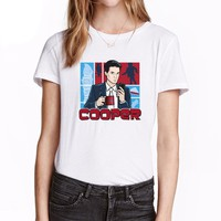 Women's Twin Peaks Agent Cooper Cartoon T Shirt