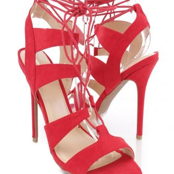 Red Peep Toe Lace Up Single Sole Heels Faux Suede