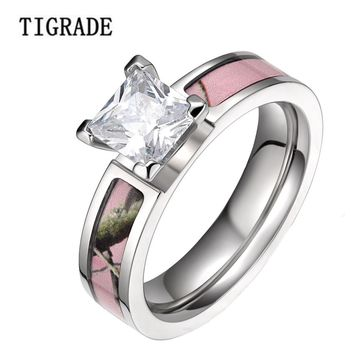 5mm Romantic Pink Tree Camo Cubic Zirconia Titanium Rings Women Engagement Wedding Band Fashion Ring Jewelry aneis feminino Sale