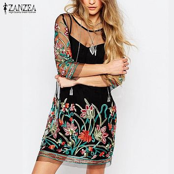 Summer Dress 2017 Boho Women Floral Embroidery Lace Mesh Dress 3/4 Sleeve Mini Dresses Casual See Through Vestidos Plus Size