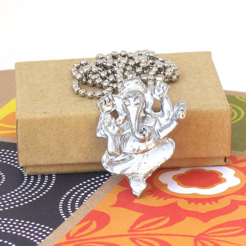 Silver Ganesh Necklace, Ganesh Hangs From Silver Ball Chain, Yoga Jewelry, Hindu Jewelry, Hindu Necklace, Hinduism