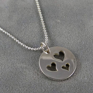 Three Heart Cutout Necklace - Sterling - Three Sisters - Three Kids - Mom and Kids - Mother of 3 - Triple Hearts - Mother's Day Gift