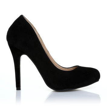 HILLARY Black Faux Suede Stilleto High Heel Classic Court Shoes