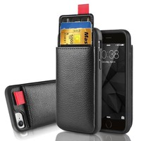 DCK4S2 iPhone 8 Wallet Case, iPhone 7 Leather Case, LAMEEKU Shockproof iPhone 7 case with ID Credit Card Slot Holder & Money Pocket, Protective cover For Apple iPhone 8/ 7 4.7' -Black