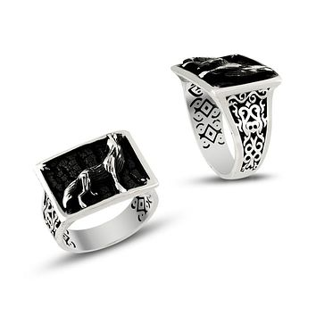 Wolf sterling silver mens ring