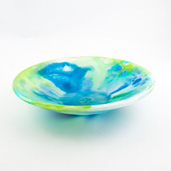 Blue and Green Fused Glass Bowl, One of a Kind Gifts, Table Centerpiece, Serving Dish, Fruit Storage, Decorative Bowl, Kitchen Accessories
