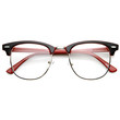 Retro Two Tone Colorful Clear Lens Half Frame Horned Rim Glasses 9184