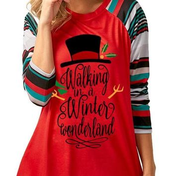 New Red Monogram Striped Print Round Neck Long Sleeve Casual T-Shirt