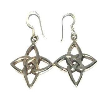 Sterling Silver Celtic Riddle Star Dangle Earring