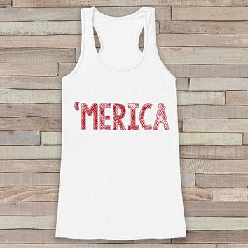 Merica Tank Top - 'Merica Fourth of July Tank - Women's 4th of July Outfit - White Flowy Tank - Fourth of July Shirt - American Pride Top