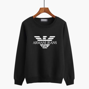 """Armani"" Unisex Casual Fashion Simple Logo Letter Print Long Sleeve Sweater Couple Round Neck Tops"