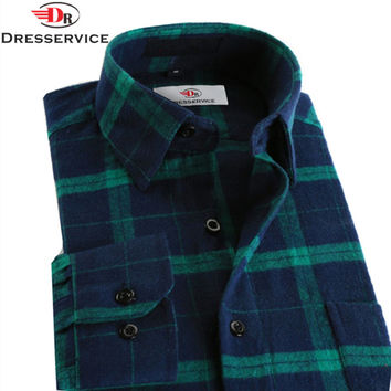 DRESSERVICE 100%Cotton 2016 Hot New Men Plaid Long-sleeved Casual Shirts Flannel Slim Fit Spring Male Business Fashion