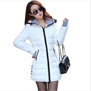 Women's cotton-padded jacket 2017 winter medium-long down cotton plus size jacket female slim ladies jackets and coats