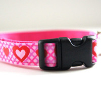Hearts Dog Collar Adjustable Sizes (XS, S, M)