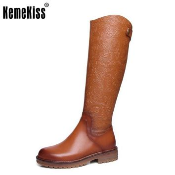 Vintage Women Real Leather Knee Boots Winter Snow Boots Sexy Square Heel Fashion Zip Women Riding Boots Women Shoes Size 34-39
