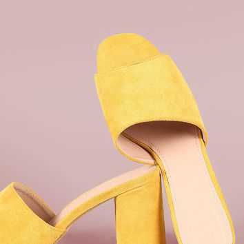 Suede Open Toe Chunky Heeled Mules