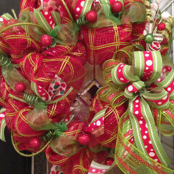 Deluxe Red and Green Christmas Wreath