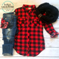 Buffalo Plaid Button Down Top