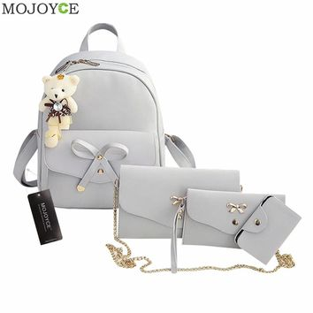 4pcs Preppy Chic Women Leather Backpack Bowknot Backpack Set PU Shoulder Bag Clutch Bag Chic School Bags Mochilas Escolar