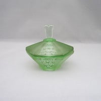 Vintage Green Frosted Glass Trinket Box, Green Glass Trinket Box, Green Glass Jewellery Box, Green Glass Powder Jar
