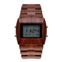 ZLYC Men 100% Natural Sandalwood LED Display Top Luxury Japan Quartz Movement Wood Wristwatch, Red