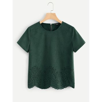 Scallop Laser Cut Out Top Green