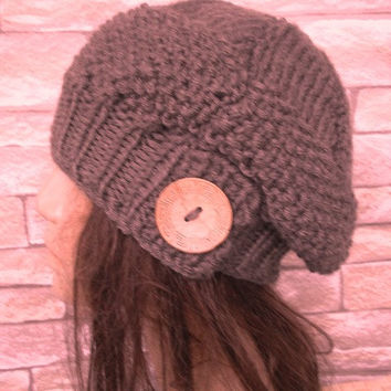 Slouchy beanie hat - Taupe hat - Womens Tam Beret womens Hand Knit Hat Womens hat with button Fashion Accessories Valentines Day